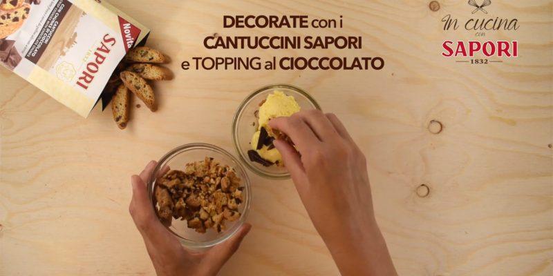 Gelato alla crema con Cantuccini con Chunks di cioccolato fondente